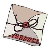 Scrapbooking与磁带的样式信封或丝带和按钮 墨水在白色背景隔绝的传染媒介例证 免版税库存照片