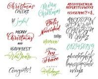 scrapbooking向量的字母表要素 圣诞节和新年congrats 季节问候 免版税库存照片