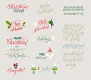 scrapbooking向量的字母表要素 圣诞节和新年congrats 季节问候 库存照片