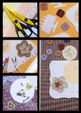 Scrapbooking. Collage - hand made scrapbooking post card and tools lying on a table Royalty Free Stock Photo