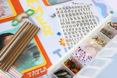 Scrapbooking. A selection of scrapbooking / craft materials Stock Photography