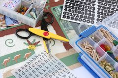 Scrapbooking. A selection of scrapbooking / craft materials Royalty Free Stock Photos
