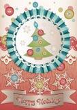 在scrapbooking的样式的假日卡片圣诞节和新年 免版税库存图片