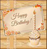 Scrapbooking birthday card with cupcake Stock Images