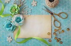 Scrapbooking card. Scrapbooking greeting card details, copy space, flat lay view Stock Photo
