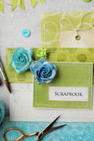 Scrapbooking card. Scrapbooking greeting card details. tools on desk Stock Photos