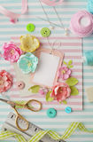 Scrapbooking card. Scrapbooking greeting card details. tools on desk Stock Image