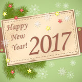 Scrapbooking card Happy New Year 2017. Vector design of new year`s image with scrapbooking card and text Happy New Year 2017.  EPS 10 Stock Photo