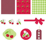 Scrapbooking. Cherry. Colorful scrapbook papers and elements. Theme cherry Royalty Free Stock Photography