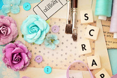 Scrapbooking craft materials Royalty Free Stock Photos