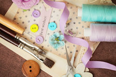 Scrapbooking craft tools. Scrapbook greeting card details and tools Stock Photography