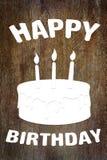 Scrapbooking di carta di buon compleanno sul fondo di legno Fotografie Stock Libere da Diritti