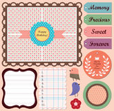 Scrapbooking Elements. Perfect for digital collage, scrapbooking, paper goods, invitations and personal use royalty free illustration