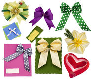 Scrapbooking elements. Bows of colored ribbon royalty free stock photography