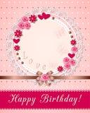 Scrapbooking födelsedagkort för tappning med blommor på servetten Royaltyfria Bilder