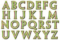Scrapbooking för stil för Digital alfabetharlekin beståndsdel Arkivbilder