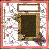 Scrapbooking frame, ribbon, dividers and decorations Stock Photography
