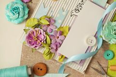 Scrapbooking card. Scrapbooking greeting card details, making of scrapbook royalty free stock photo