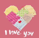 Scrapbooking Heart is made of Vintage Old Paper pieces stock illustration