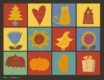 Scrapbooking koloru charakterów kalendarz royalty ilustracja