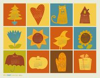 Scrapbooking koloru charakterów kalendarz ilustracja wektor
