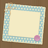 Scrapbooking layout. Scrap book background with torn paper book tied with string on a corrugated cardboard background vector illustration