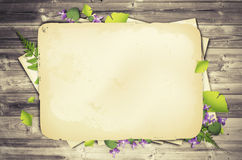 Scrapbooking Natural Background. Illustration of Nature Wooden Background With Flower and Old Papers Stock Image