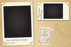 Scrapbooking page set. Vector retro paper photo frames with background, theater tickets and coffee spots Royalty Free Stock Photo
