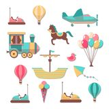 Scrapbooking patches. Fun kid cartoon trendy cute carousels games stickers for scrapbook album and frames vector set stock illustration