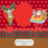 Scrapbooking photoframe Merry Christmas. Scrapbooking photoframe with Santa Claus and Reindeer Stock Photos