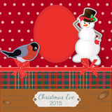 Scrapbooking photoframe Smiling Snowman and bullfinch. Vector illustration EPS10 Stock Photography
