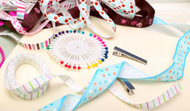 Scrapbooking. Scrapbook background. ribbon with decoration Royalty Free Stock Image