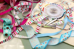 Scrapbooking. Scrapbook background. ribbon with decoration Stock Images