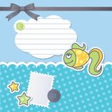 Scrapbooking set. With cartoon fish, sewing buttons and bow Stock Images