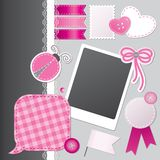 Scrapbooking set. With speech bubble, stickers, photo frame and sewing buttons royalty free illustration