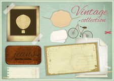 Scrapbooking set - old paper, photo fram Royalty Free Stock Images