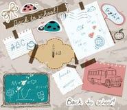 Scrapbooking set with school elements. Stock Images