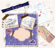 Scrapbooking set with stamps and photo frames. Royalty Free Stock Photo
