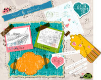 Scrapbooking set with stamps and photo frames. Stock Images