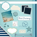 Scrapbooking Set: Summer journey. Frames, ribbons, dividers, notes and decorations Royalty Free Stock Image