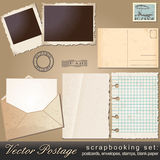 Scrapbooking set of vintage postage objects royalty free illustration