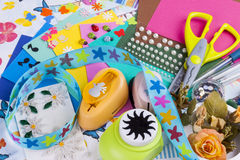 Scrapbooking set on white background. Royalty Free Stock Photography