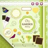 Scrapbooking stellte ein: Mein Garten-Tagebuch vektor abbildung