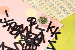 Scrapbooking supplies. Including alphabet, embellishments, eyelets, and letter stickers Stock Photo