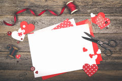Scrapbooking for Valentine`s Day Royalty Free Stock Photo