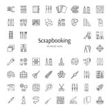 Scrapbooking-Vektorlinie Ikonen Werkzeuge und Zubehör für Schrott vektor abbildung
