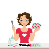 Scrapbooking woman. Woman with photo craft supplies for scrapbooking stock illustration