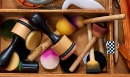 Scrapbooking wood tool box royalty free stock image