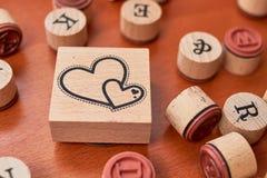 Scrapbooking wooden stamp set royalty free stock photo