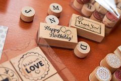 Scrapbooking wooden stamp set royalty free stock photography